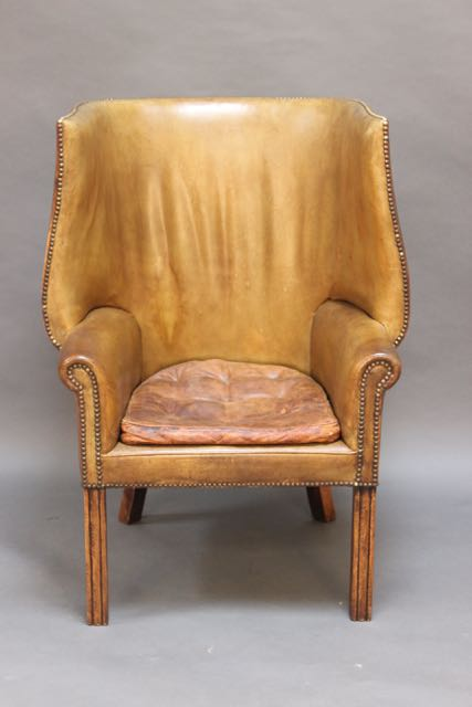 Admirable 19Thc Green Leather Wing Armchair Camellatalisay Diy Chair Ideas Camellatalisaycom